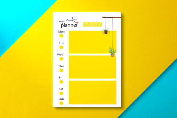 Daily Planner Yellow Graphic KDP Interiors By Nickkey Nick