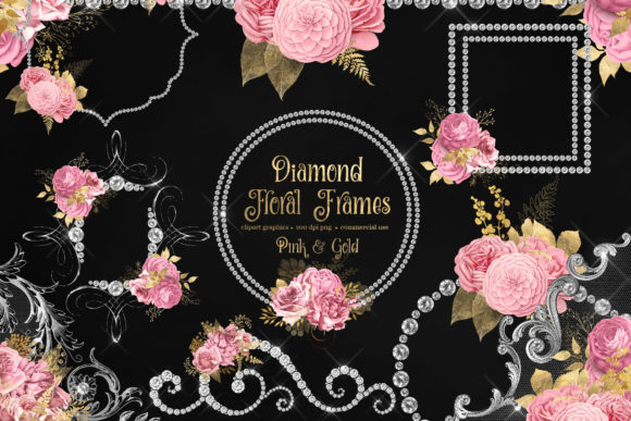 Print on Demand: Diamond Floral Frames in Pink and Gold Graphic Illustrations By Digital Curio