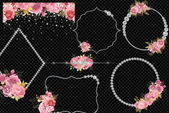 Diamond Floral Frames in Pink and Gold Download