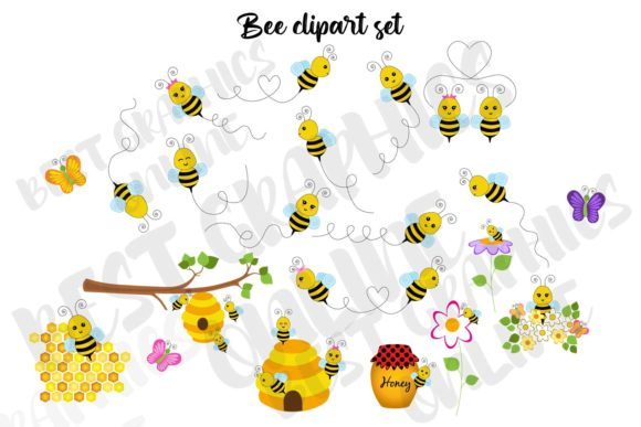 Flying Bumble Bees Clip Art Graphic Illustrations By bestgraphicsonline