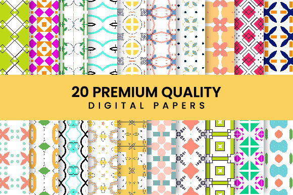 Print on Demand: Geometric Digital Paper Bundle Graphic Patterns By Riduwan Molla