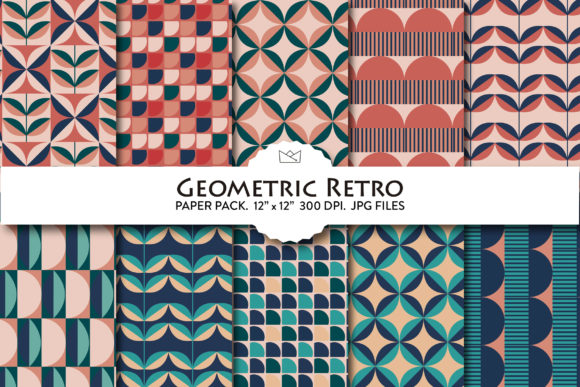 Geometric Retro Digital Paper, Patterns Graphic Patterns By Nina Prints