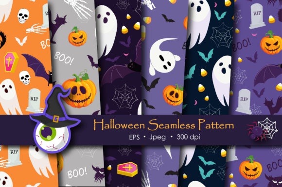 Print on Demand: Halloween Ghost and Pumpkins Pattern Graphic Patterns By jannta - Image 1