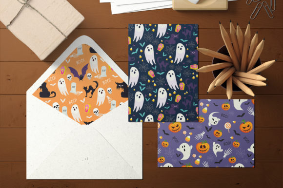Print on Demand: Halloween Ghost and Pumpkins Pattern Graphic Patterns By jannta - Image 5