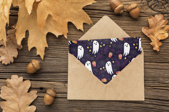 Print on Demand: Halloween Ghost and Pumpkins Pattern Graphic Patterns By jannta - Image 6