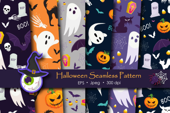 Print on Demand: Halloween Ghost and Pumpkins Pattern Graphic Patterns By jannta
