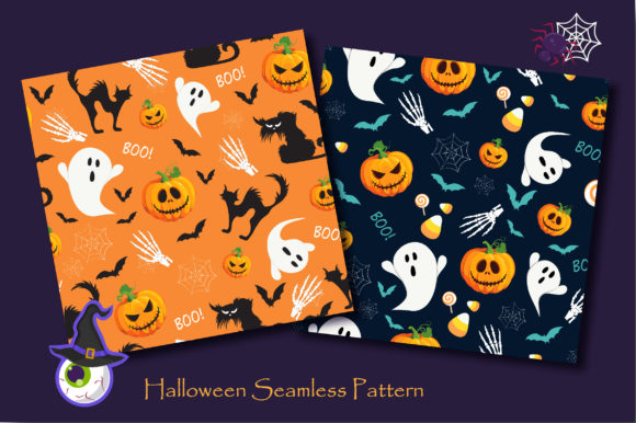 Print on Demand: Halloween Ghost and Pumpkins Pattern Graphic Patterns By jannta - Image 2