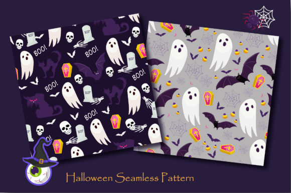 Print on Demand: Halloween Ghost and Pumpkins Pattern Graphic Patterns By jannta - Image 3