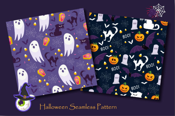Print on Demand: Halloween Ghost and Pumpkins Pattern Graphic Patterns By jannta - Image 4