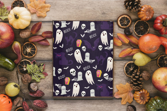 Print on Demand: Halloween Ghost and Pumpkins Pattern Graphic Patterns By jannta - Image 7
