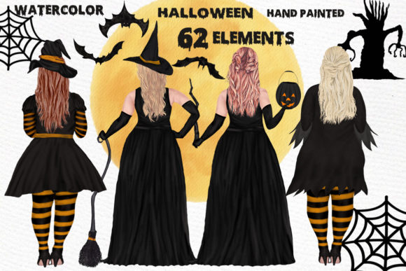 Halloween Girls Clipart Plus Size Witch Graphic Illustrations By LeCoqDesign