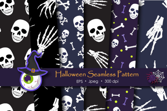 Print on Demand: Halloween Skull and Skeleton Pattern Graphic Patterns By jannta - Image 1