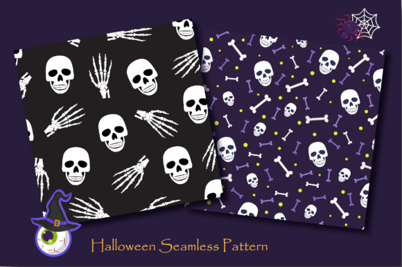Print on Demand: Halloween Skull and Skeleton Pattern Graphic Patterns By jannta - Image 4