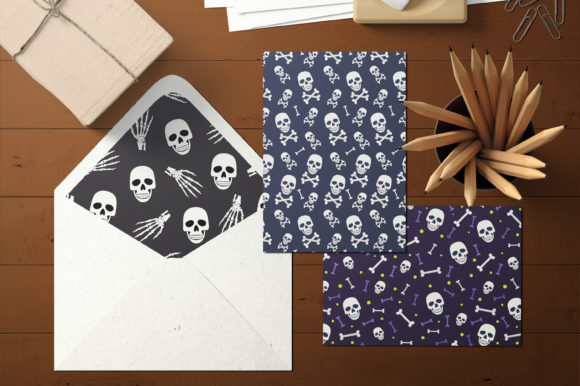 Print on Demand: Halloween Skull and Skeleton Pattern Graphic Patterns By jannta - Image 5