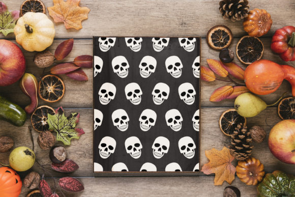 Print on Demand: Halloween Skull and Skeleton Pattern Graphic Patterns By jannta - Image 7