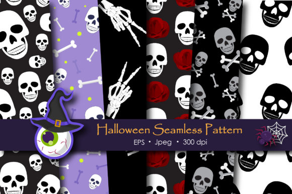 Print on Demand: Halloween Skull and Skeleton Pattern Graphic Patterns By jannta