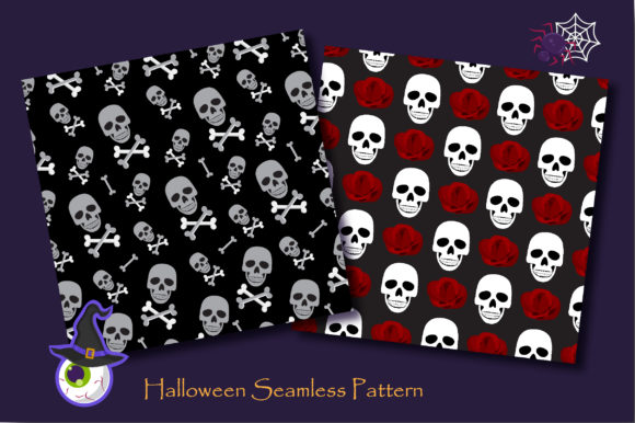 Print on Demand: Halloween Skull and Skeleton Pattern Graphic Patterns By jannta - Image 2