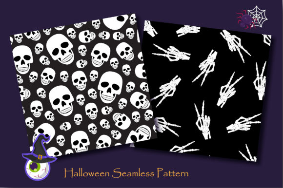 Print on Demand: Halloween Skull and Skeleton Pattern Graphic Patterns By jannta - Image 3
