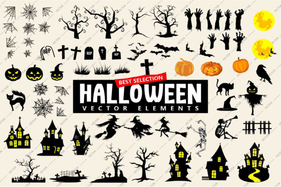 Print on Demand: Halloween Vector Element Icon Silhouette Graphic Objects By Universtock