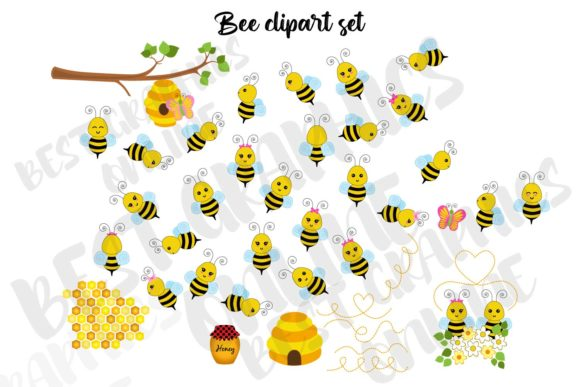Honey Bee Clipart Bumble Bees Honeycomb Graphic Illustrations By bestgraphicsonline