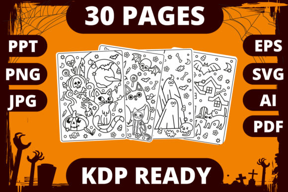 Print on Demand: KDP | Halloween Coloring Book for Kids 1 Graphic Coloring Pages & Books Kids By MikeToon Studio - Image 1
