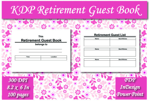 Print on Demand: KDP Retirement Guest Book Interior Graphic KDP Interiors By Ivana Prue