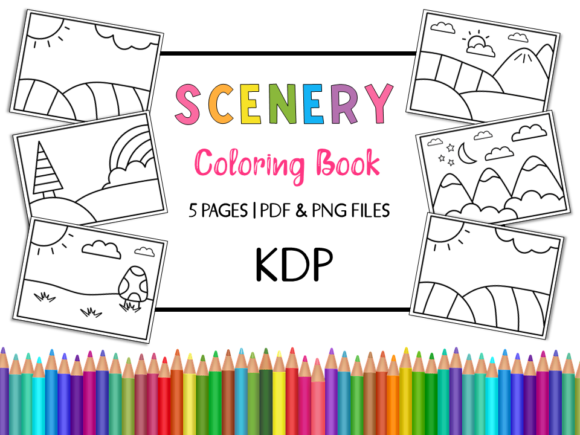 KDP Scenery Coloring Book for Kids Graphic Coloring Pages & Books Kids By Miss Cherry Designs