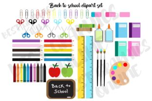 Kids Back to School Supplies Clipart Set Graphic Illustrations By bestgraphicsonline