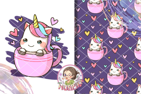 Print on Demand: Little Unicorn in a Cup of Coffee Graphic Illustrations By huapika