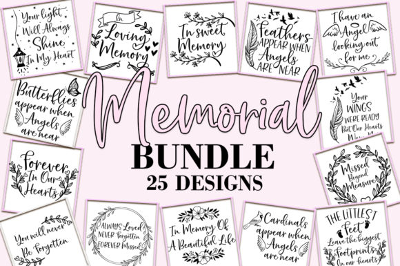 Print on Demand: Memorial Service Funeral Bundle Graphic Crafts By freelingdesignhouse