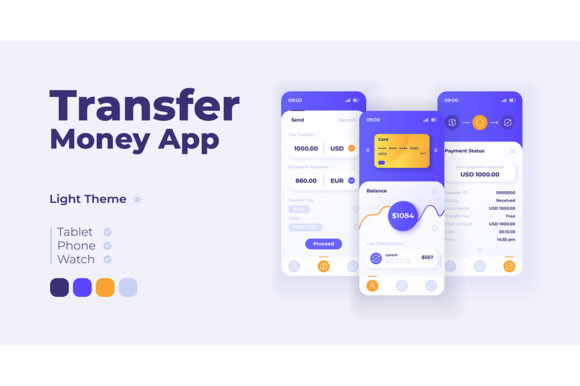 Print on Demand: Money Transfer App Smartphone Interface Graphic UX and UI Kits By bsd studio