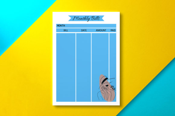 Monthly Bill Sheet Blue Graphic KDP Interiors By Nickkey Nick