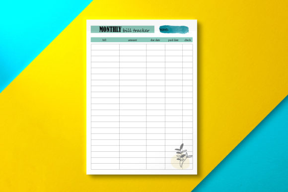 Monthly Bill Tracker Green Graphic KDP Interiors By Nickkey Nick