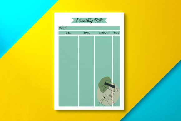 Monthly Bill Tracker Olive Graphic KDP Interiors By Nickkey Nick