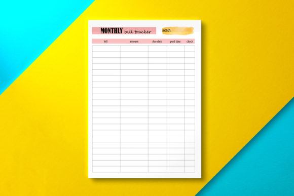 Monthly Bill Tracker Pink Graphic KDP Interiors By Nickkey Nick