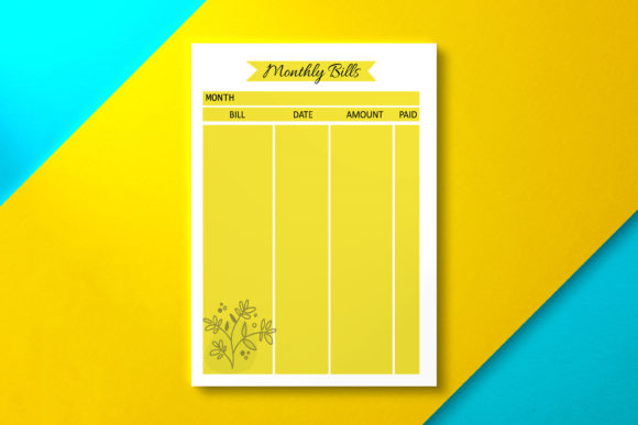 Monthly Bill Yellow Graphic KDP Interiors By Nickkey Nick