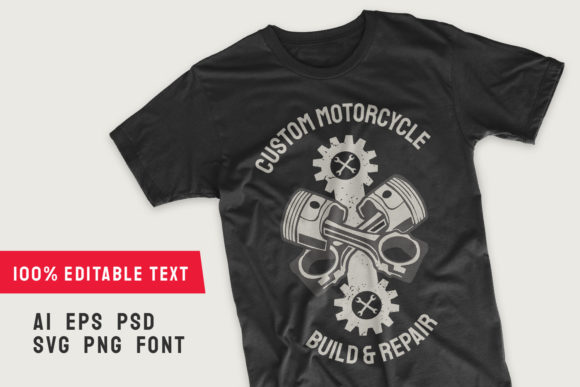Print on Demand: Motorcycle T-shirt Design Template Graphic Illustrations By Universtock