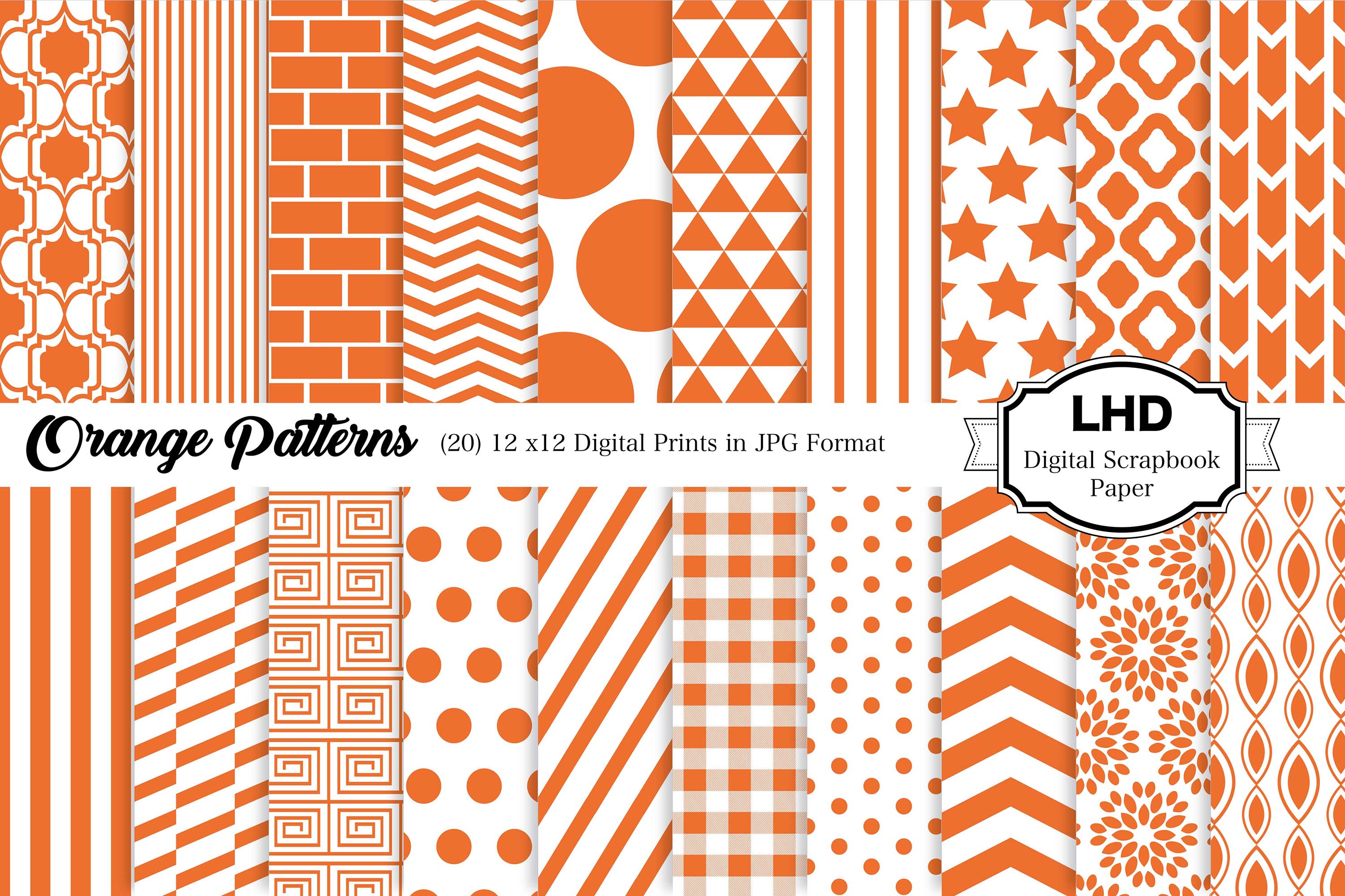 11+ Hand Draw Orange Mint Digital Paper Pack: Dream Collection Crafter Files