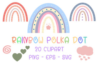 Print on Demand: Rainbow Polka Dot Clipart Graphic Illustrations By PearlyDaisy