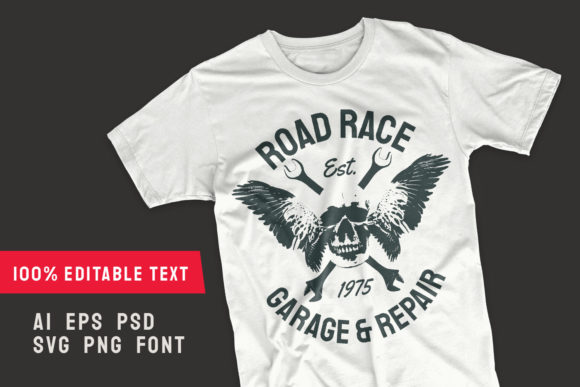 Print on Demand: Road Race T-shirt Design Editable Graphic Illustrations By Universtock