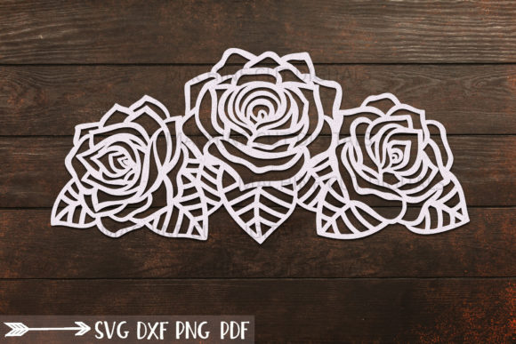 Roses with Leaves Border Graphic Crafts By Cornelia