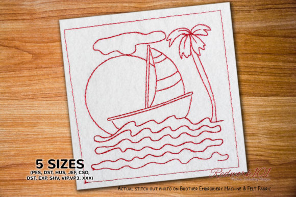 Saiboat in the Sea Transportation Embroidery Design By Redwork101