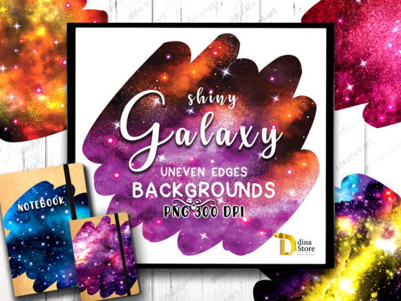 Print on Demand: Shiny Galaxy Uneven Edges Backgrounds Graphic Backgrounds By dina.store4art