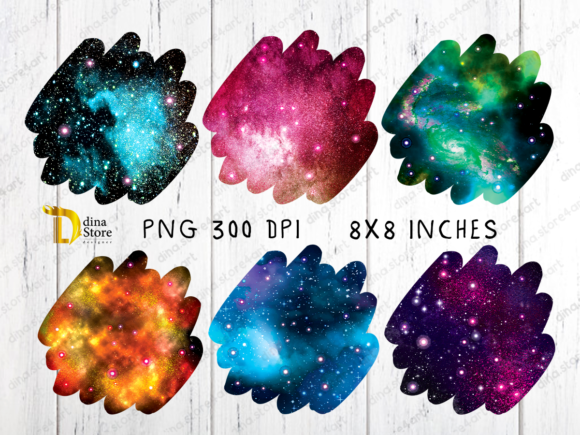 Print on Demand: Shiny Galaxy Uneven Edges Backgrounds Graphic Backgrounds By dina.store4art - Image 2