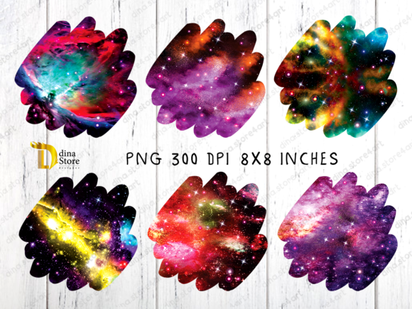 Print on Demand: Shiny Galaxy Uneven Edges Backgrounds Graphic Backgrounds By dina.store4art - Image 3