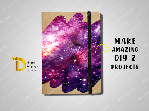 Print on Demand: Shiny Galaxy Uneven Edges Backgrounds Graphic Backgrounds By dina.store4art - Image 5