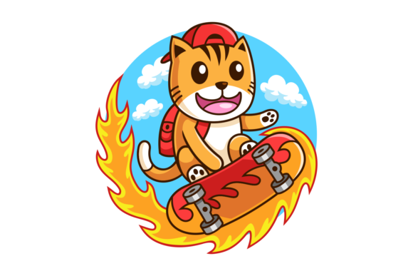 Skateboarder Cat Illustration Graphic Illustrations By Rexcanor