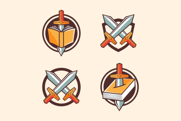 Sword and Book Symbol Cartoon Style Graphic Illustrations By Rexcanor