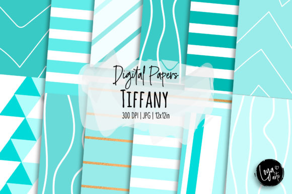 Print on Demand: Tiffany Digital Papers Set Graphic Backgrounds By loyaarts