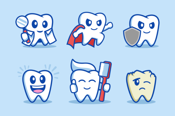 Tooth Cartoon Character Design Graphic Illustrations By Rexcanor